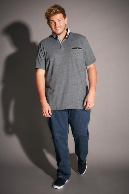 D555 Grey Fine Stripe Colin Polo Shirt With Contrasting Collar