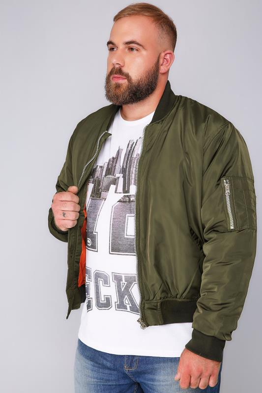 D555 Khaki Bomber Jacket With Orange Lining