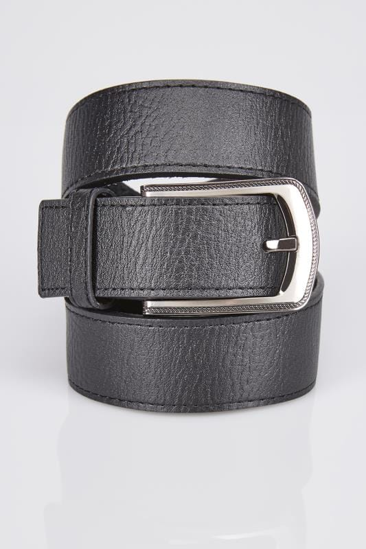 D555 King Size Wide Black Bonded Leather Belt