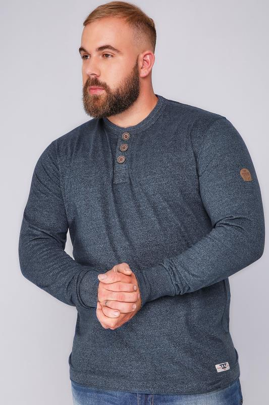 D555 Navy Long Sleeve Sweat Top - TALL
