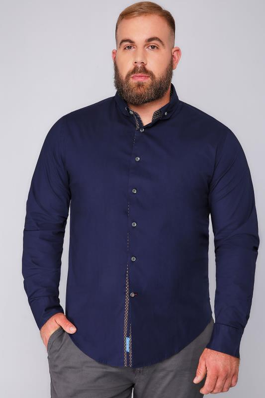 D555 Navy Long Sleeved Shirt With Contrasting Lining Detail - TALL