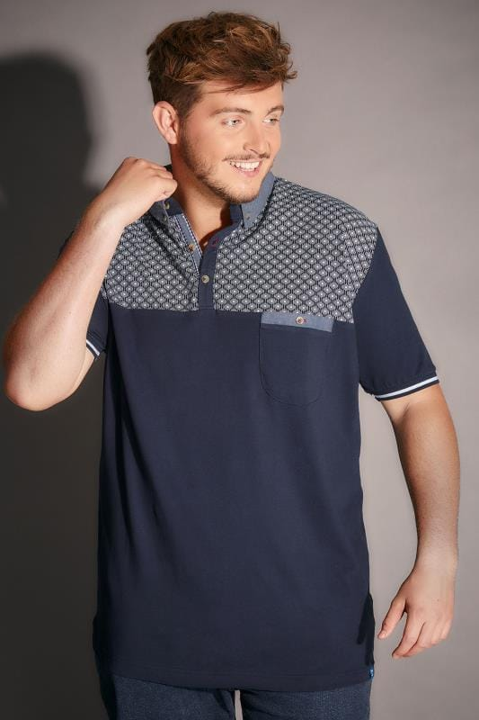D555 Navy Maurice Polo Shirt With Geometric Yoke & Chest Pocket