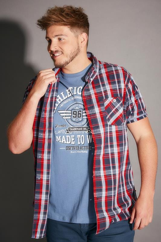 Casual Shirts D555 Navy & Red Check 2 In 1 Shirt & T-Shirt Combo 200020
