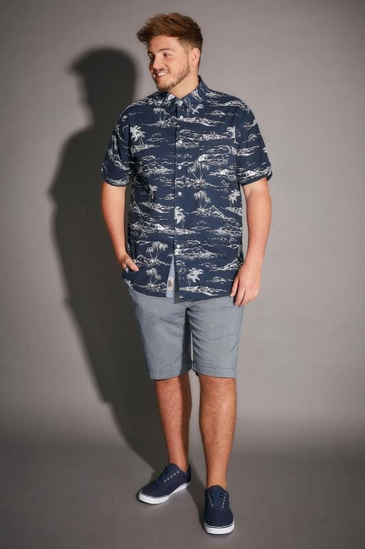 D555 Navy & White Palm Tree Print Nestor Shirt