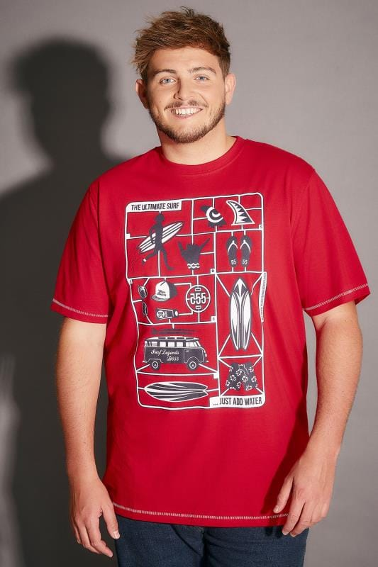 T-Shirts D555 Red Jaron T-Shirt With 'The Ultimate Surf' Print 200026
