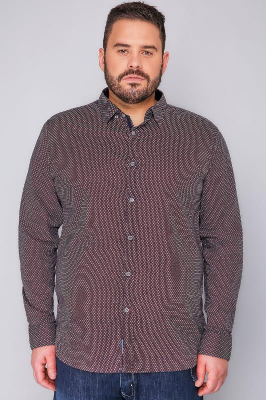 D555 Red & Navy Printed Long Sleeve Shirt - TALL