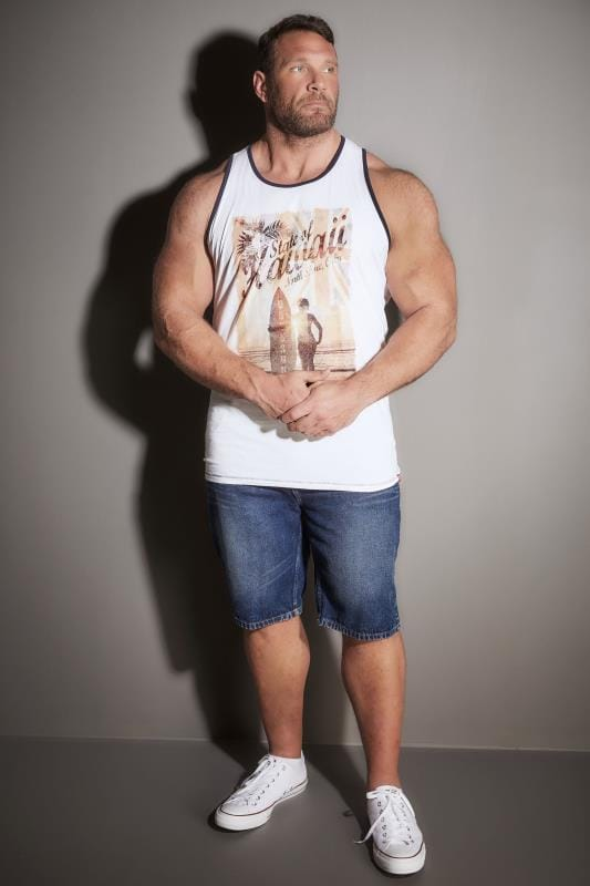 D555 White & Multi Cyrus Vest Top With 'Hawaii' Print