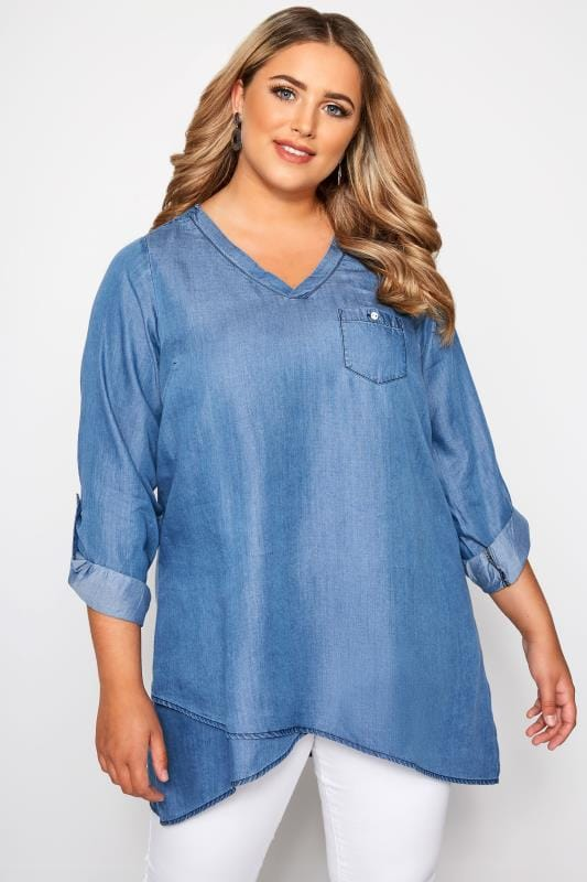 Plus Size Blouses Blue Denim Double Layered Shirt