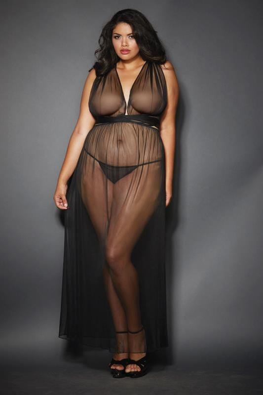 DREAMGIRL Black Grecian-Style Gown and G-String