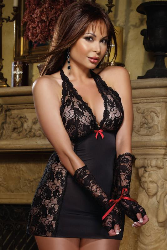 DREAMGIRL Black Lace Chemise With Fingerless Lace Gloves With Tie