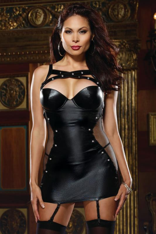 DREAMGIRL Black Leather Look & Fishnet Garter Dress