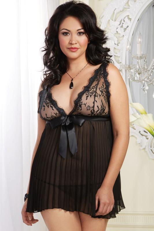 DREAMGIRL Black Pleat & Lace Baby Doll