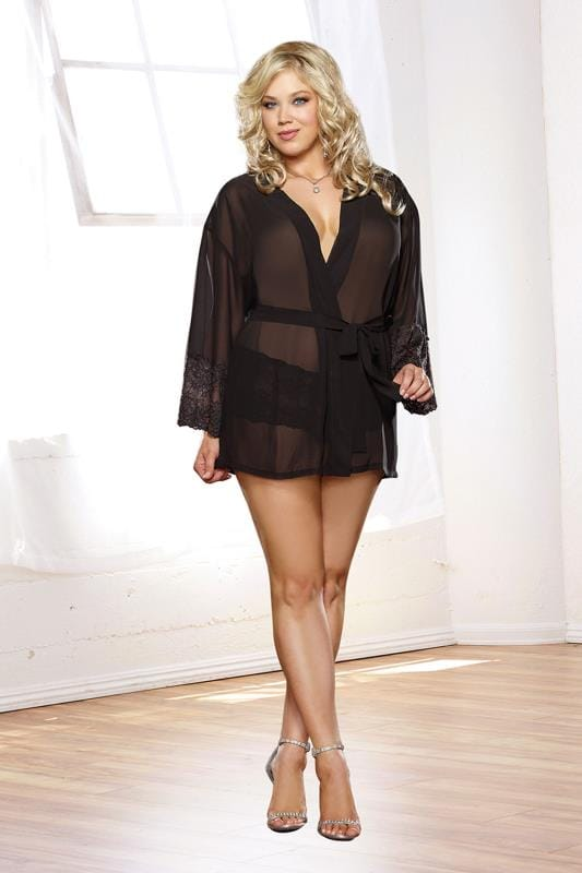 DREAMGIRL Black Stretch Lace 3/4 Length Sleeve Kimono