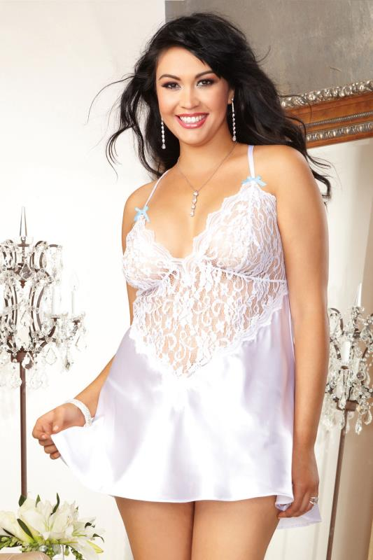 Lingerie Sets DREAMGIRL White Lace Trim Babydoll & Thong Set 056184