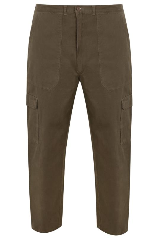 DUKE Khaki Cotton Cargo Trousers
