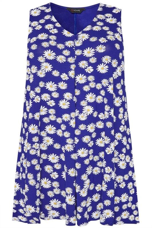 Plus Size Vests & Camis Cobalt Blue Daisy Print Swing Top