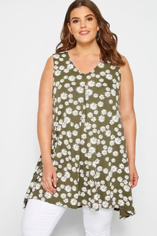 Plus Size Vests & Camis Khaki Daisy Print Swing Top