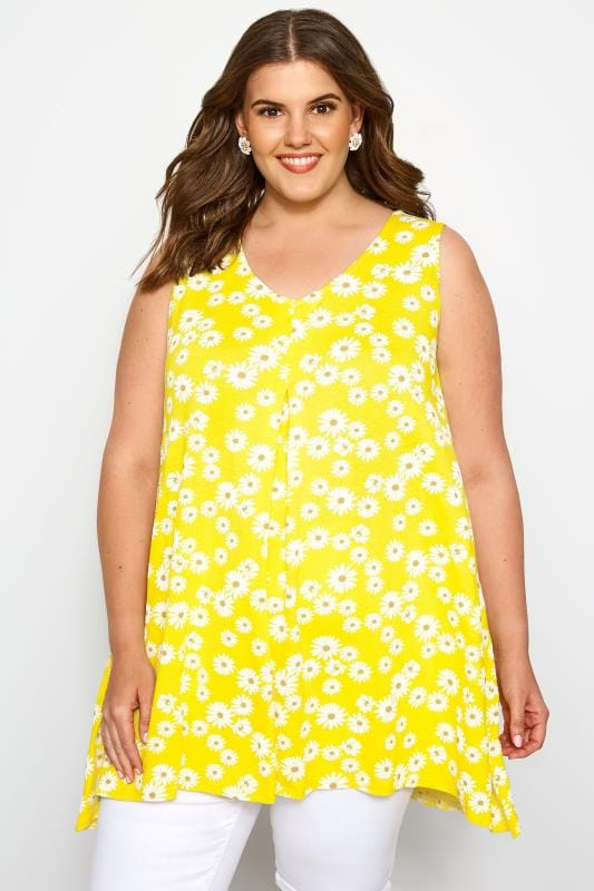Yellow Floral Daisy Swing Vest Top