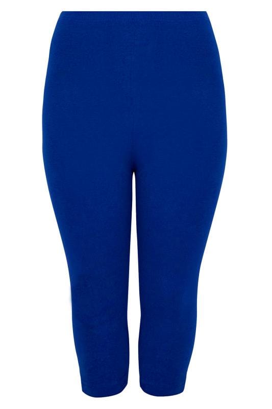 Dark Blue Cotton Elastane Cropped Leggings