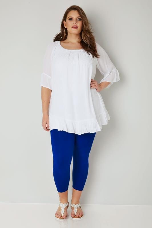 Cobalt Blue Cotton Essential Cropped Leggings