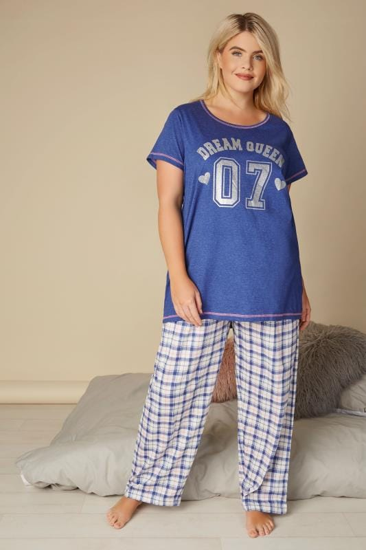 Plus Size Pyjamas Dark Blue 'Dream Queen' Pyjama Set