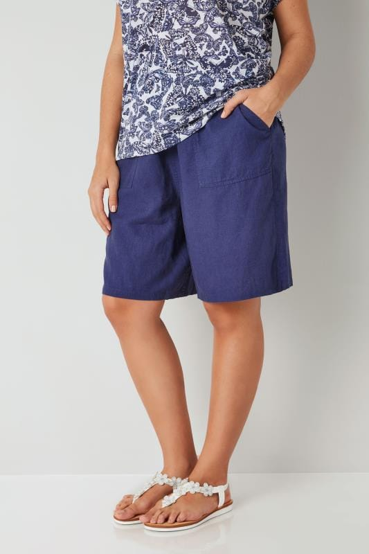Plus Size Linen Mix Shorts Dark Blue Linen Mix Pull On Shorts