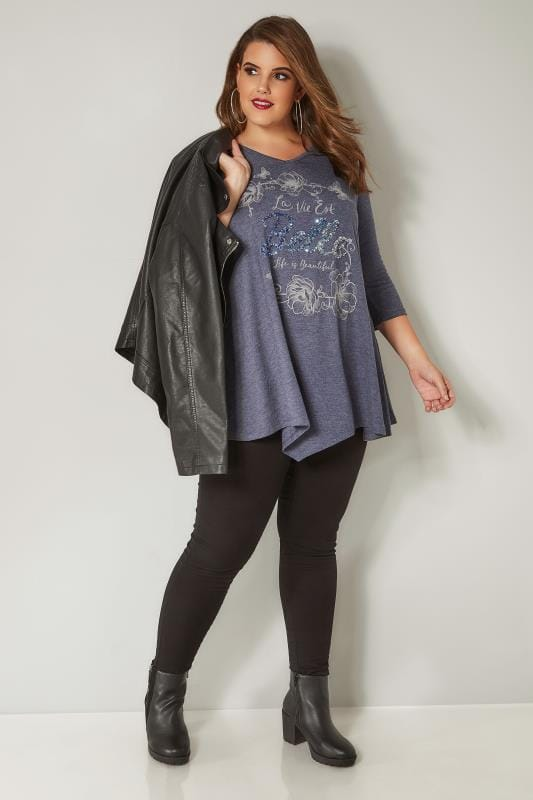 Dark Blue Marl Sequin Embellished Top
