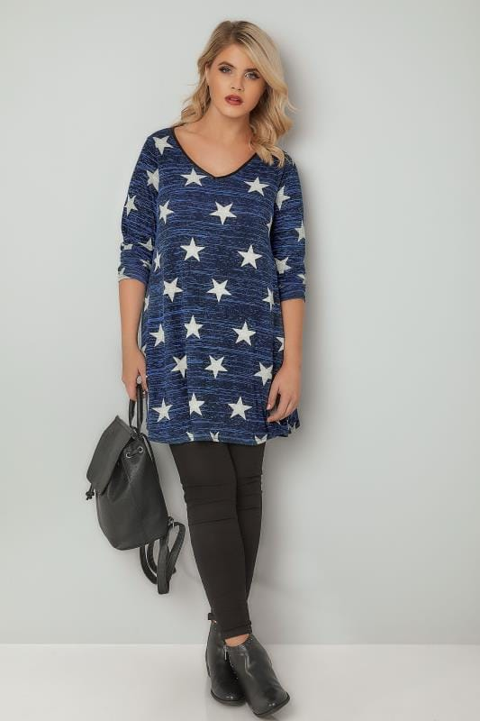 Dark Blue Star Print Longline Swing Top