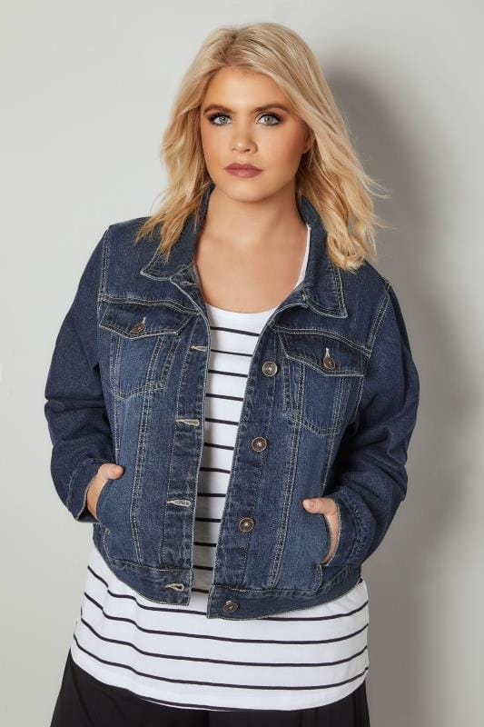 Plus Size Denim Jackets Dark Blue Washed Denim Jacket