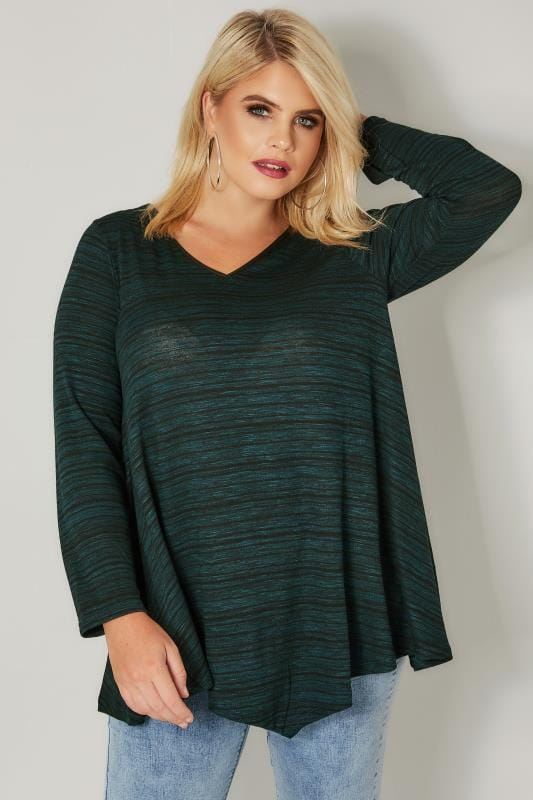 Dark Green & Black Space Dye Jersey Top With Asymmetric Hem & PU Trim