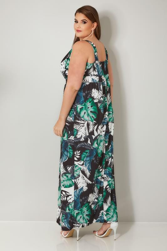 YOURS LONDON Green & Black Tropical Maxi Dress