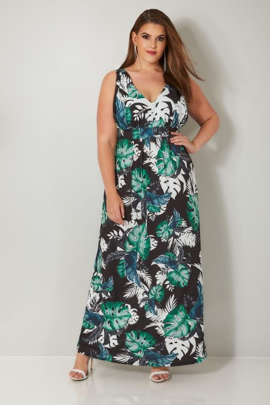 Dark Green & Black Tropical Leaf Print Jersey Maxi Dress