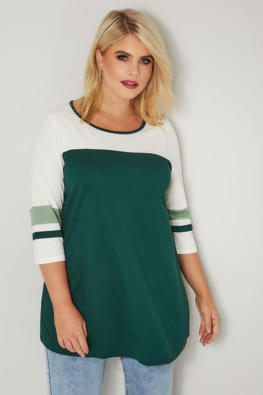 Plus Size Day Tops Dark Green Colour Block Top