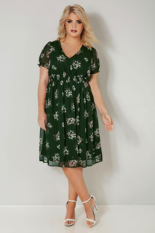 Dark Green Floral Wrap Front Tea Dress With Waist Tie