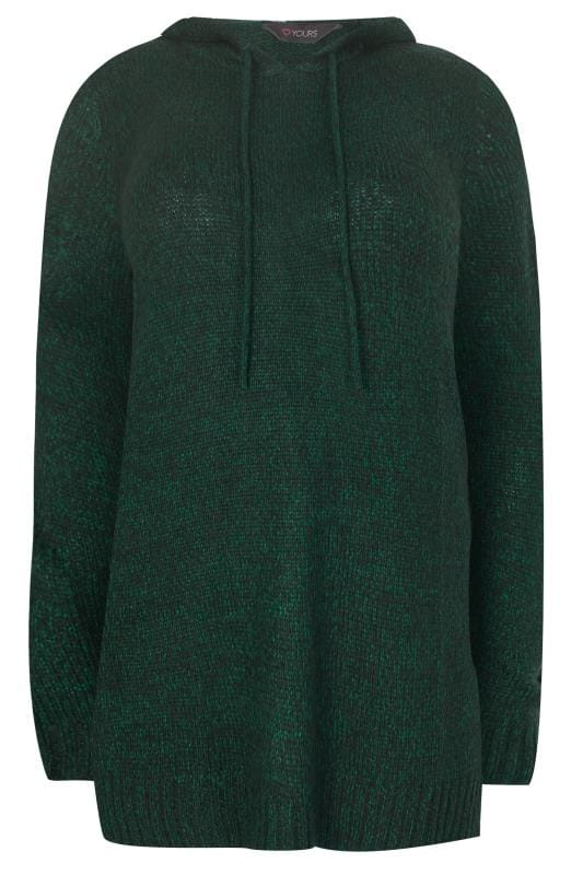 Plus Size Hoodies & Jackets Dark Green Knitted Hoodie