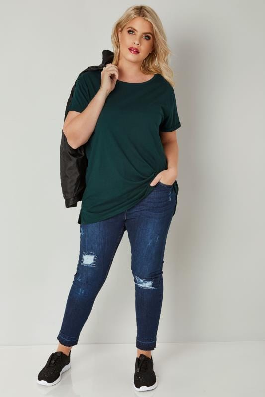 Dark Green Mock Pocket T-Shirt With Curved Hem
