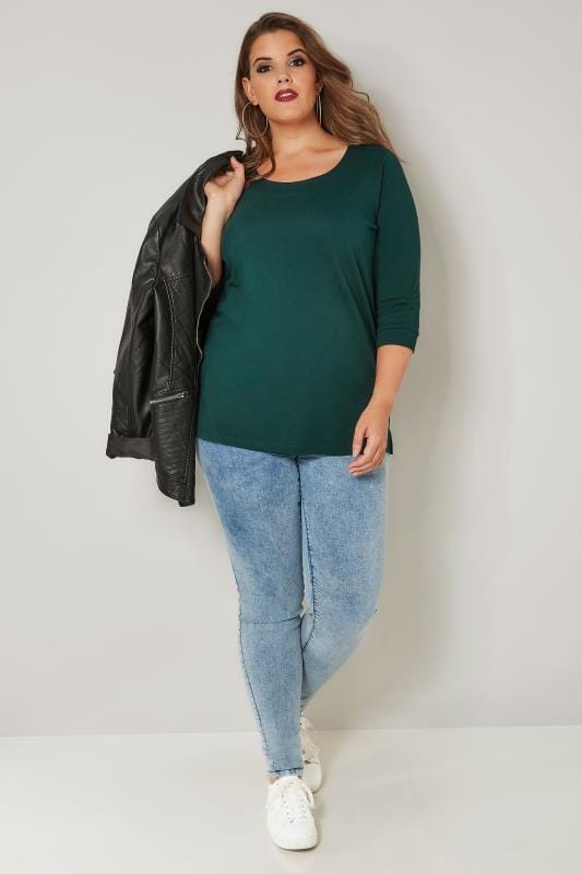 Dark Green Seamed Scoop Neck Top