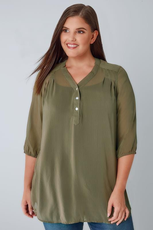 Dark Green Sheer Chiffon Button-Up Blouse With 3/4 Length Sleeves