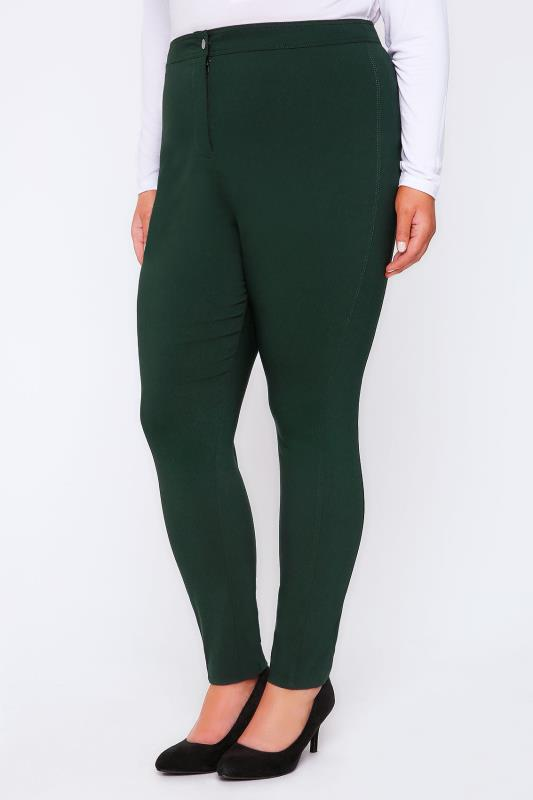 Dark Green Stretch Bengalin Slim Fit Trousers