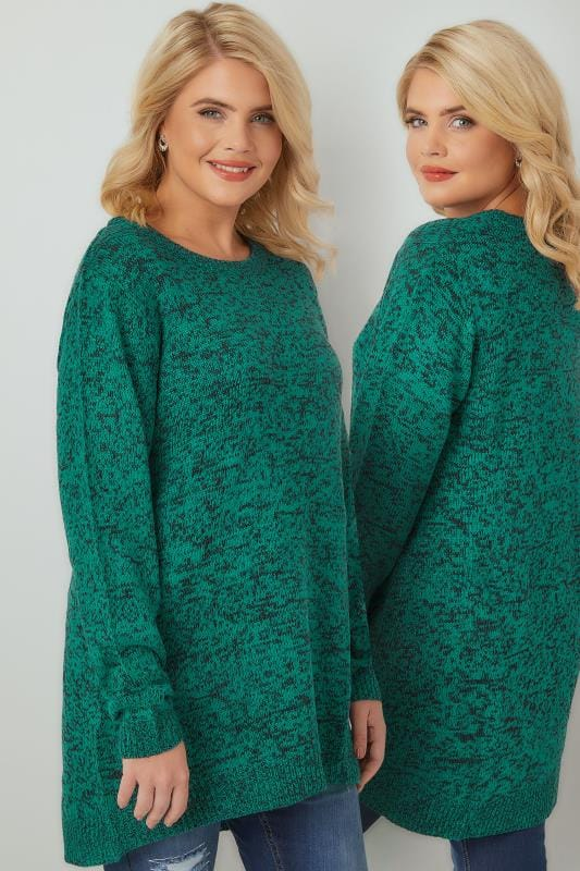 Jumpers Dark Green Textured Jumper With Dipped Hem 124108