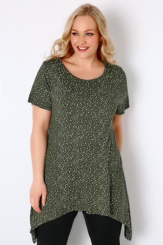 Dark Green & White Star Print Jersey Top With Hanky Hem