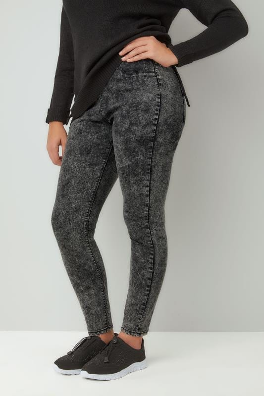 Plus Size Jeggings Dark Grey Acid Wash JENNY Jeggings