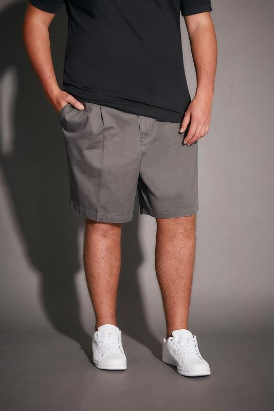 Dark Grey Chino Shorts With Elasticated Waist Insert