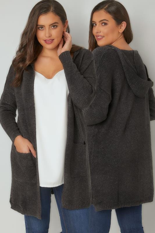 Dark Grey Hooded Cardigan With Pockets