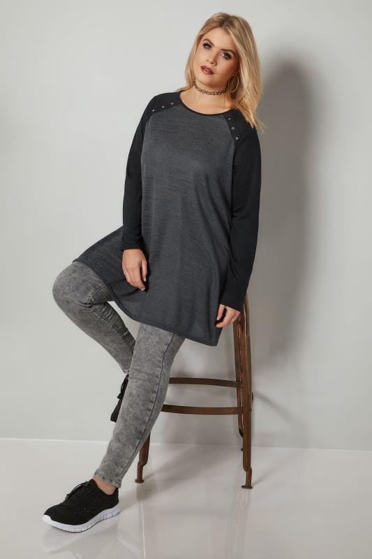 Dark Grey Knitted Top With Eyelet Cut Outs