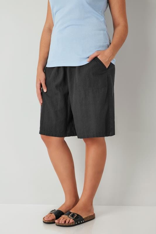 Plus Size Linen Mix Shorts Dark Grey Linen Mix Pull On Shorts