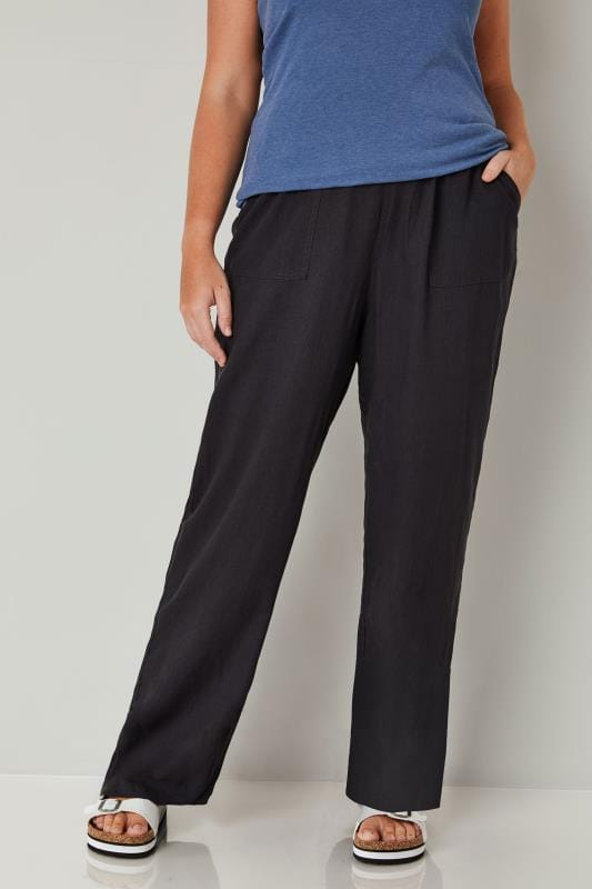 Plus Size Wide Leg & Palazzo Trousers Dark Grey Linen Mix Pull On Wide Leg Trousers