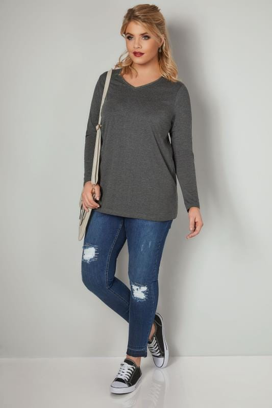 Dark Grey Marl Long Sleeved V-Neck Jersey Top