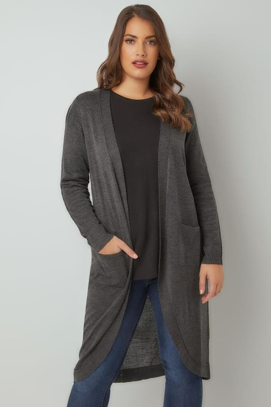 Plus Size Cardigans Dark Grey Longline Cardigan With Pockets