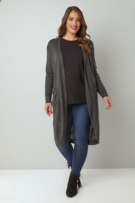 Dark Grey Longline Cardigan With Pockets